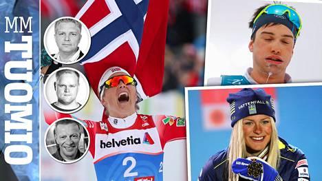 Therese Johaug (vas.), Max Hauke ja Frida Karlsson olivat vahvasti esillä Seefeldin MM-kisoissa.