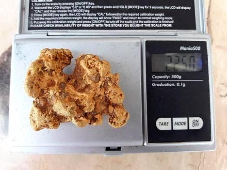 Tiistaina löydetty Suomen kuudenneksi suurin kultahippu painaa 225 grammaa.
