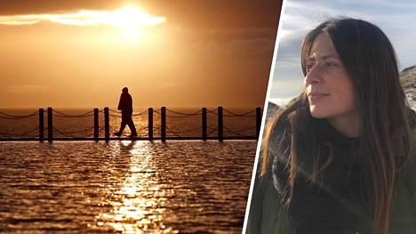 Ulkoilija käyskenteli Bristolin kanaalin rannalla Weston-super-Maren kylässä helmikuun alussa. Tanja Korhonen on asunut Britanniassa jo yli 10 vuotta.