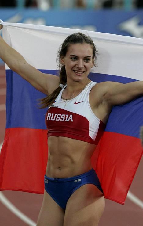 Jelena Isinbajeva on kolminkertainen maailmanmestari. Ensimmäinen MM-titteli tuli Helsingissä 2005.
