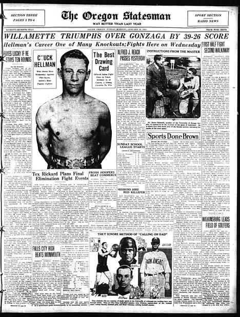 """Paikallinen sanomalehti ennakoi Chuck Hellmanin ottelua """"Salemin suosituinta ottelijaa"""" vastaan."""