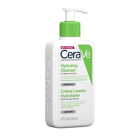 Tähän putsariin on helppo rakastua: hyvää ja halpaa! CeraVe Hydrating Cleanser sisältää keramideja ja hyaluronihappoa, 9 € / 237 ml, apteekeista.