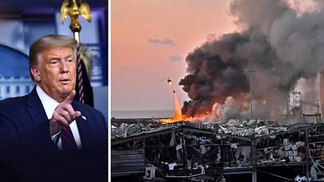 Yhdysvaltain presidentti Donald Trump sanoi lehdistötilaisuudessa, että Beirutin räjähdykset olisi aiheuttanut pommi.