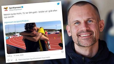 Stefan Holmin (oik.) poika Melwin Lycke Holm hyppäsi lauantaina historian nuorimmaksi yleisurheilun Ruotsin mestariksi.