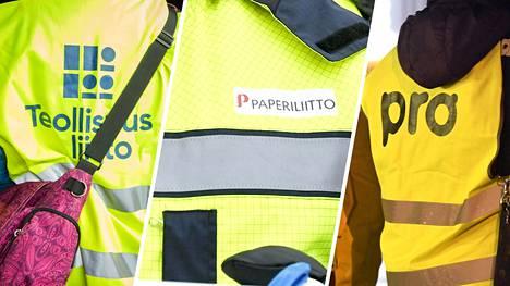 Työntekijäjärjestöt Teollisuusliitto, Paperiliitto ja Ammattiliitto Pro uhkaavat kahden viikon työtaisteluilla.