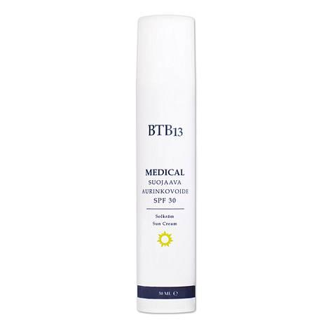 Kotimaisen BTB13-ihonhoitomerkin aurinkovoide sisältää UVB- ja UVA-suojan sekä yhdistettä, jonka oroottihappo on vahva antioksidantti auringon ja näkyvän valon aiheuttamaa ikäännyttävää hapetusstressiä vastaan. 42 € / 50 ml.