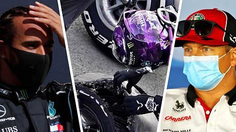 Lewis Hamiltonin rengas puhkesi. Kaikki merkit viittaavat siihen, että Kimi Räikkösen autosta irronneet pirstaleet aiheuttivat rengasrikot.