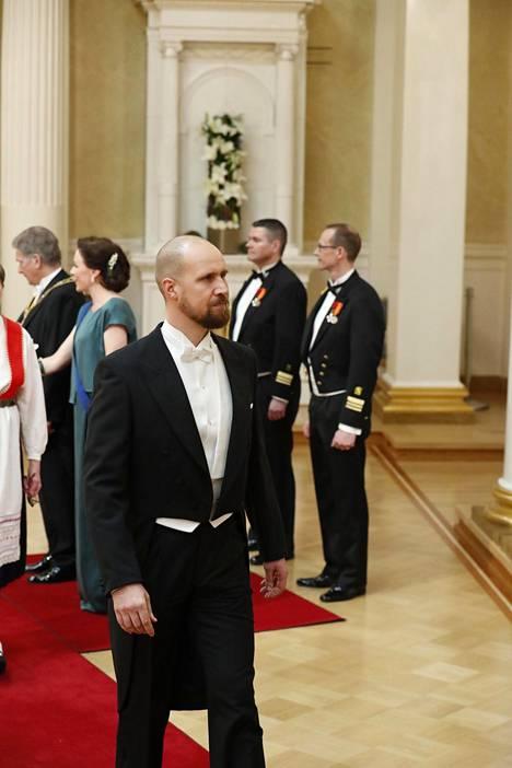 Aalto saapui itsenäisyyspäivän vastaanotolle yksin 6.12.2017.