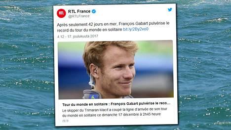 Ranskalainen yksinpurjehtija kiersi maapallon ennätysajassa