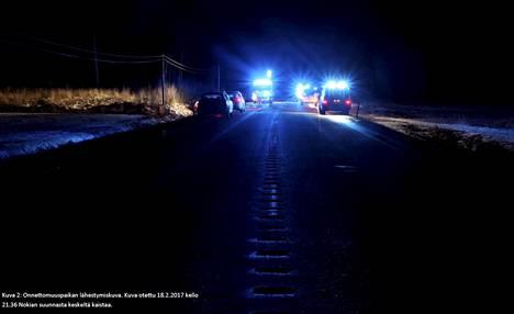 Onnettomuuspaikka. Kuva otettu 18.2.2017 kello 21.37 Nokian suunnasta keskeltä ajorataa.
