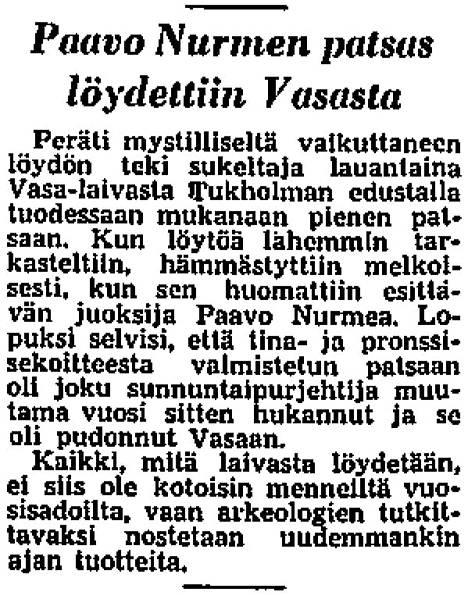 Helsingin Sanomat uutisoi Paavo Nurmi -patsaan löydöstä 4.5.1961.
