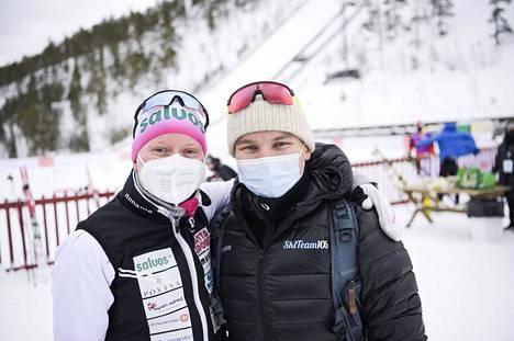 Johanna Matintalon ja Lauri Vuorisen arki pyörii hiihdon ympärillä. Kuva Rukan Suomen cupista.