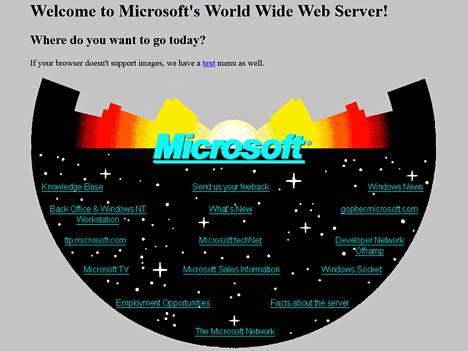 Kyllä, näin rumalta näytti Microsoftin ensimmäinen kotisivu. Aikanaan se oli kuitenkin komea tekninen saavutus.