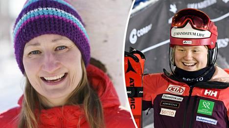 Tanja Poutiainen (vas.) iloitsi Rosa Pohjolaisen onnistumisesta.