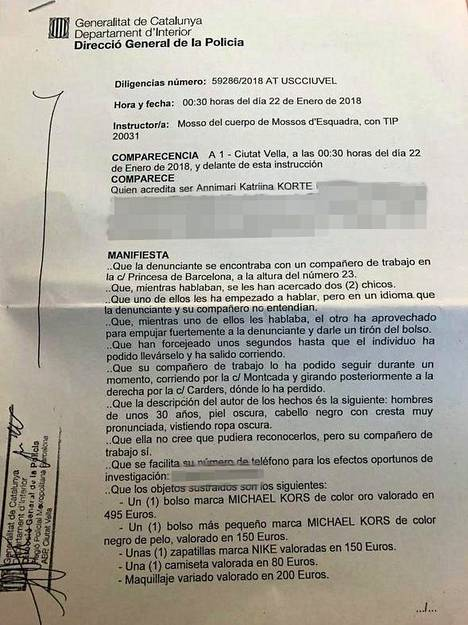 Annimari Korte lähetti IS:lle kuvan Barcelonan poliisille tekemästään rikosilmoituksesta.