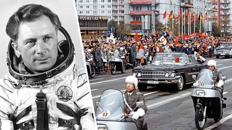 Kosmonautit Sigmund Jähn (vas.) ja Valeri Bykovski otettiin vastaan juhlallisessa paraatissa Karl-Marx-Alleella Itä-Berliinissä 21. syyskuuta 1978.