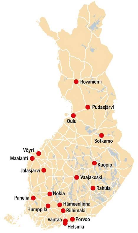 Keräsimme kartalle 18 eri kokoista tehtaanmyymälää, joissa kannattaa nyt vierailla.