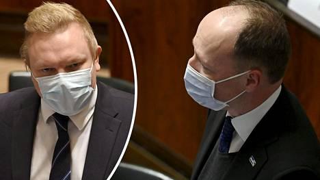 Perussuomalaisten puheenjohtaja Jussi Halla-aho (oik.) tarttui keskustan Antti Kurvisen sanoihin eduskunnan EU-elvytyspakettikeskustelussa.