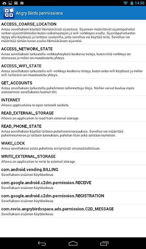 App Permissions -sovelluksen lista luvista, joita Angry Birds Space -peli käyttää Android-laitteilla.