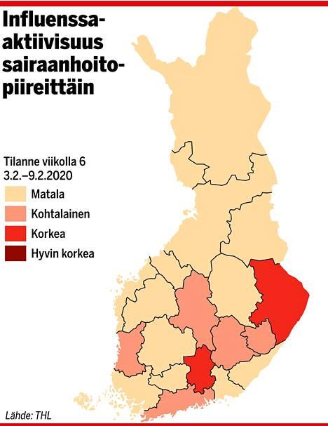 Influenssaepidemia On Alkanut Kaksi Aluetta Hehkuu Kartalla