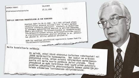 Rolf Kullberg oli Suomen Pankin pääjohtajana, kun pankkituesta päätettiin.