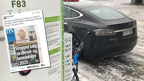 Sähköautoja valmistavan amerikkalaisyhtiö Teslan toimitusjohtaja Elon Musk twiittasi kuvan Dagens Naeringslivin kannesta.