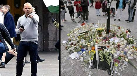 Epäilty Jesse Torninainen osallistui Suomen vastarintaliikkeen mielenilmaukseen lauantaina 10.9. Helsingin rautatieasemalla.