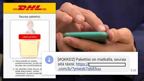 Huijaus tulee tekstiviestitse. Tällä hetkellä sitä levitetään DHL:n nimissä, mutta aiemmin niitä on nähty Postin viesteiksi naamioituina.