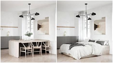 Monikäyttöiset huonekalut säästävät tilaa ja tekevät kokonaisuudesta toimivan.
