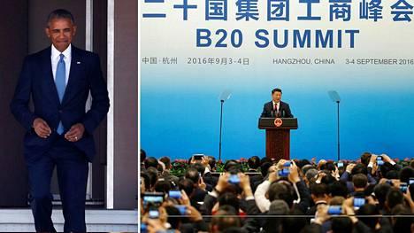 Barack Obaman (vas.) Yhdysvallat ja Xi Jinpingin johtama Kiina tuottavat yhteensä noin 40 prosenttia maailman hiilidioksidipäästöistä.