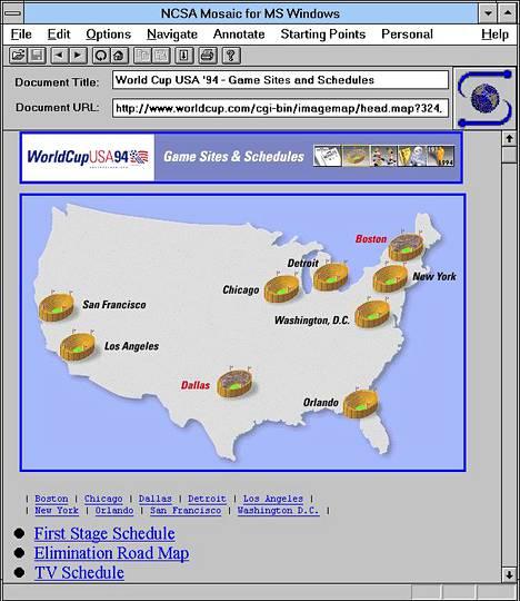 Petteri Järvisen Mosaic-selaimesta ottama ruutukuva jalkapallon vuoden 1994 MM-kisoista. Kuva on otettu 1.7.1994 klo 9:53.