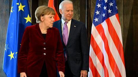 Joe Biden ja Angela Merkel tapasivat vuonna 2015, kun Biden oli Barack Obaman varapresidentti.