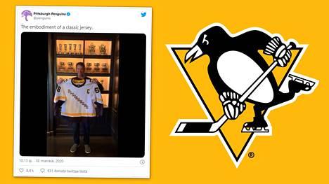 Penguins-legenda Mario Lemieux puki päälleen seuran uuden retrotyylisen pelipaidan.