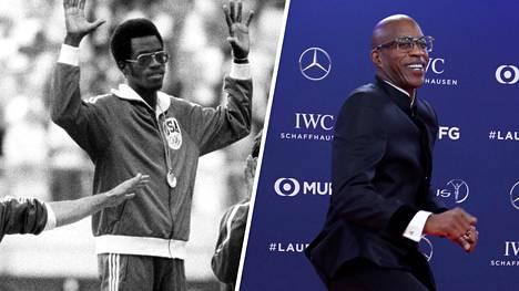 Edwin Mosesin poisjäänti Moskovan kisoista teki hetkellisen muutoksen lajin valtasuhteisiin. Vasemmalla urheilija vuoden 1976 olympiakultamitali kaulassaan, oikealla 2019 gaalakunnostautuneena.