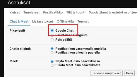 Ominaisuus löytyy Gmailin selainversion asetuksista. Kuvakaappaus.