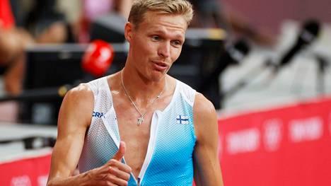 Topi Raitanen juoksi olympiafinaalissa maanantai-iltana Tokiossa.