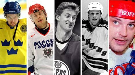 Peter Forsberg (vas.), Pavel Bure ja Wayne Gretzky tähdittävät TSN:n listausta. Suomalaisista mukana ovat Reijo Ruotsalainen ja Esa Tikkanen.