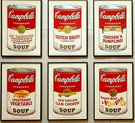 Tässä on Warholin kuuluisat keittopurkit.