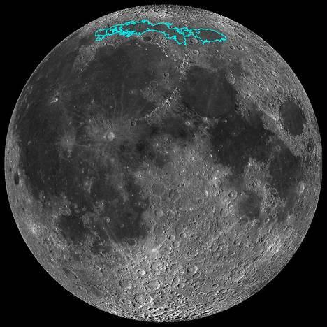 Kuvassa sinisellä värjätyt alueet ovat uudempia Kuun pinnanmuotoja.