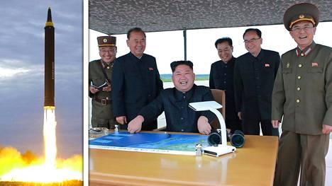 KCNA:n julkaisemassa kuvassa Kim Jong-un istuu iloisen näköisenä pöydän ääressä. Kuva julkaistiin viimeisimmän ohjuslaukaisun jälkeen.