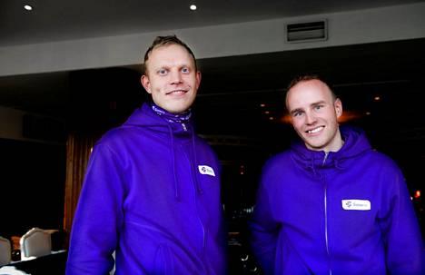 Pekka Koskela (vas.) ja Mika Poutala hymyilivät yhteiskuvissa, mutta kameroiden katveessa yhteiselo ei aina ollut auvoista.