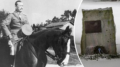 Mannerheim ja Käthy kuvattuna sotaharjoituksissa elokuussa 1939 Karjalan kannaksella. Käthy on haudattu Ypäjän hevosopistolle (oik.).
