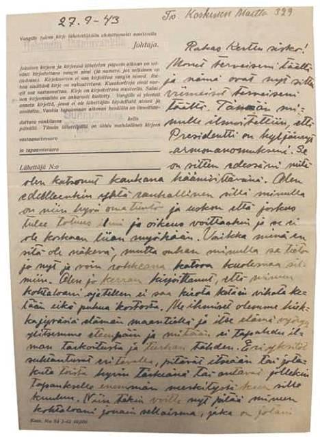 Sivu Martta Koskisen viimeisestä kirjeestä siskopuolelleen.