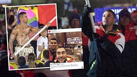 Pita Taufatofua on saanut kunnian kantaa Tongan lippua niin Rion olympialaisissa (vas.) kuin Lahden MM-kisoissa.