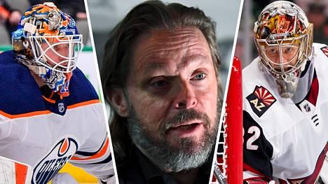 Marko Yrjövuori (kesk.) on ollut kohun keskellä viime viikot. NHL-vahdit Mikko Koskinen (vas.) ja Antti Raanta luottavat Yrjövuoren apuun.
