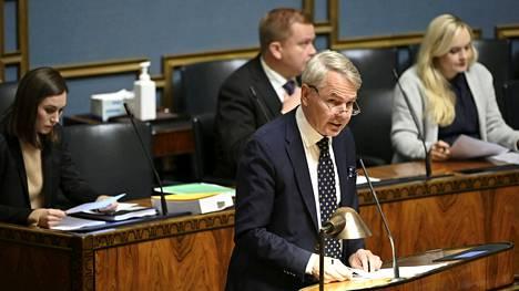 Ulkoministeri Pekka Haavisto puhui eduskunnan täysistunnossa keskiviikkona.