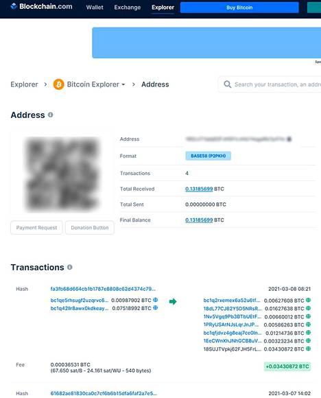 Kiristäjän bitcoin-lompakkoon on tehty neljä rahansiirtoa. Kuvakaappaus blockchain.comista.