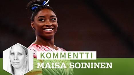 Simone Biles päätti Tokion olympialaiset puomin pronssimitaliin. Vaikeuksien jälkeen onnistuminen sai hymyn Bilesin kasvoille.