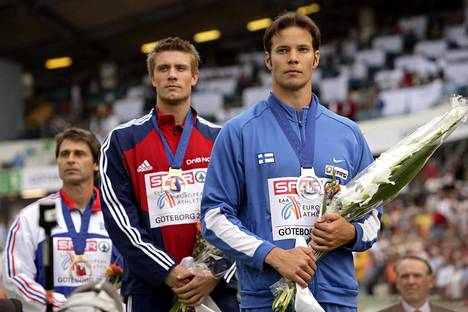 Zelezny (taka-alalla) voitti pronssia vielä Göteborgin EM-kisoissa 2006. Kultaa juhli vastikään uransa päättänyt Andreas Thorkildsen (kesk.), ja hopeaa sai Tero Pitkämäki.
