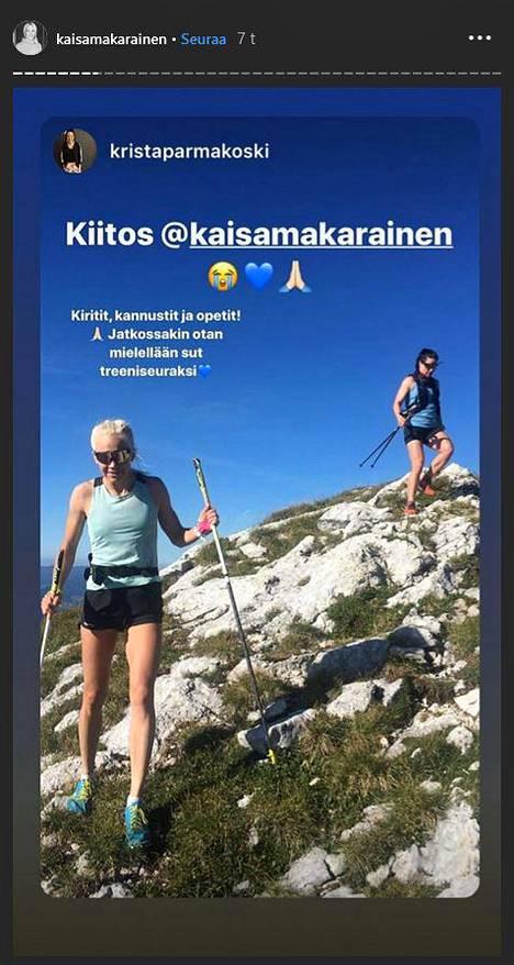 Krista Pärmäkoski ja Mäkäräinen ovat harjoitelleet aiemmin yhdessä.
